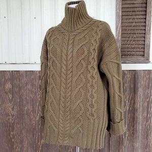 Everlane mockneck chunky sweater olive green S